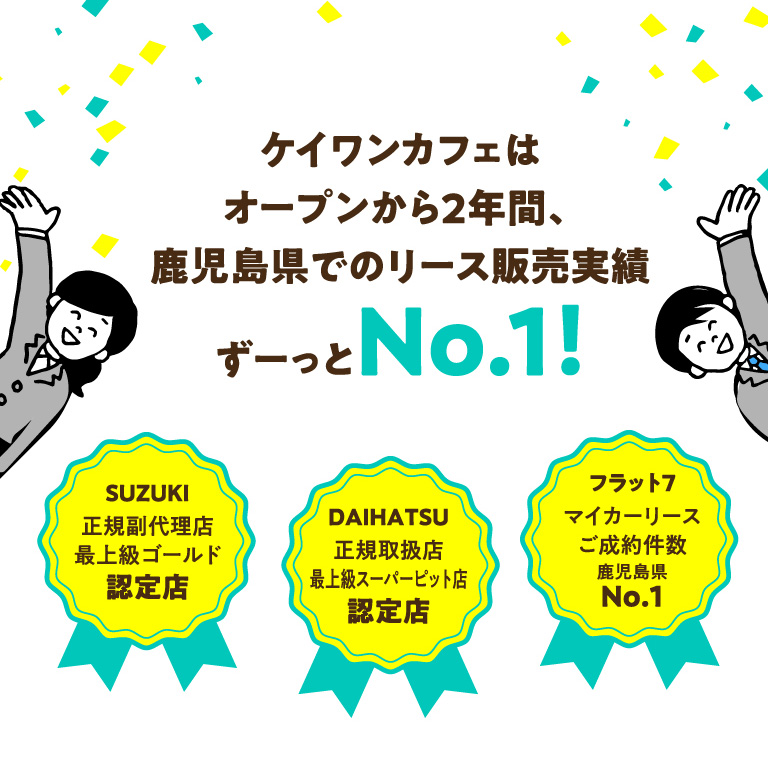 鹿児島県でのリース販売実績ずーっとNo.1
